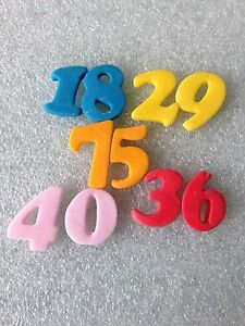 Edible fondant icing small Numbers - cake topperx12 eBay