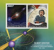 Ivory Coast 2016 MNH Albert Einstein & General Relativity 2v M/S Science Stamps