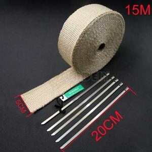 "2"" Creamy Exhaust Manifold Downpipe Heat Wrap 15m & 5 Ties rap De Cat Pipe Tape"