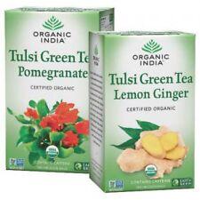 Organic India Tulsi Green Tea Pomegranate18 Tea Bags and Lemon Ginger18 Tea Bags