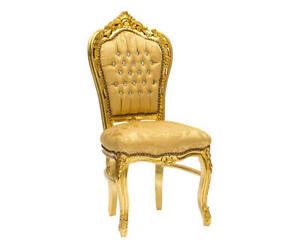Poltrone In Plastica Stile Barocco.Sedia Poltrona Barocco Foglia Oro Damasco Oro Con Strass Stile