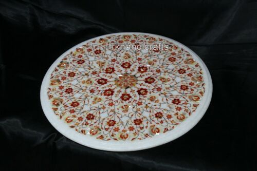 24 Inches Marble Center Table Top Inlay Coffee Table with Carnelian Stone Work