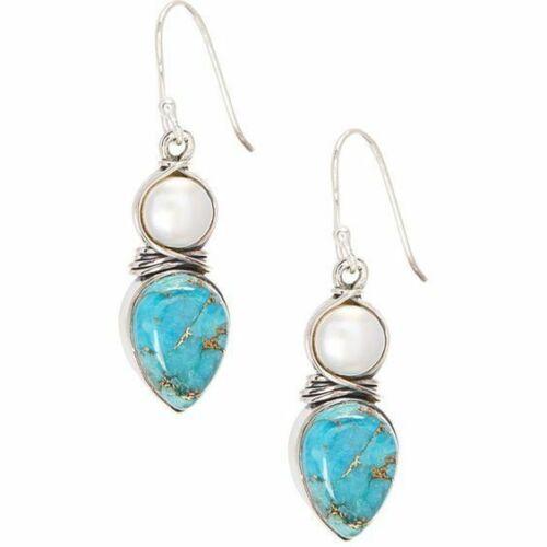 Women Silver Pearl Natural Turquoise Gems Wedding Drop Dangle Retro Earrings
