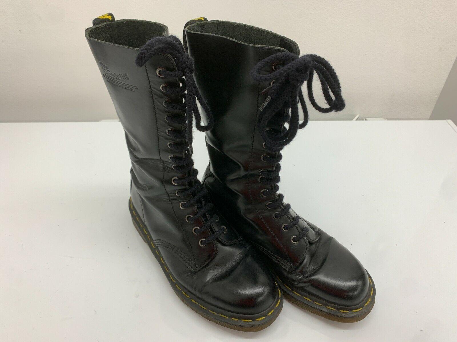 Dr Martens Boots 14 Eyelets Black Shiny Leather, Size 8UK