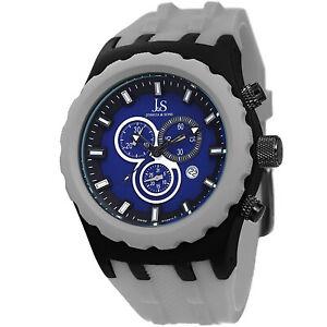 New-Men-039-s-Joshua-amp-Sons-JS59GY-Swiss-Quartz-Chronograph-Grey-Silicone-Watch