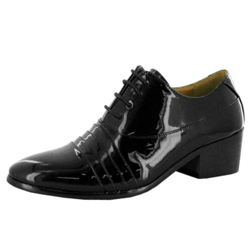 Mens Formal Shoes Lace Up Cuban Heel Smart Casual Leather Size