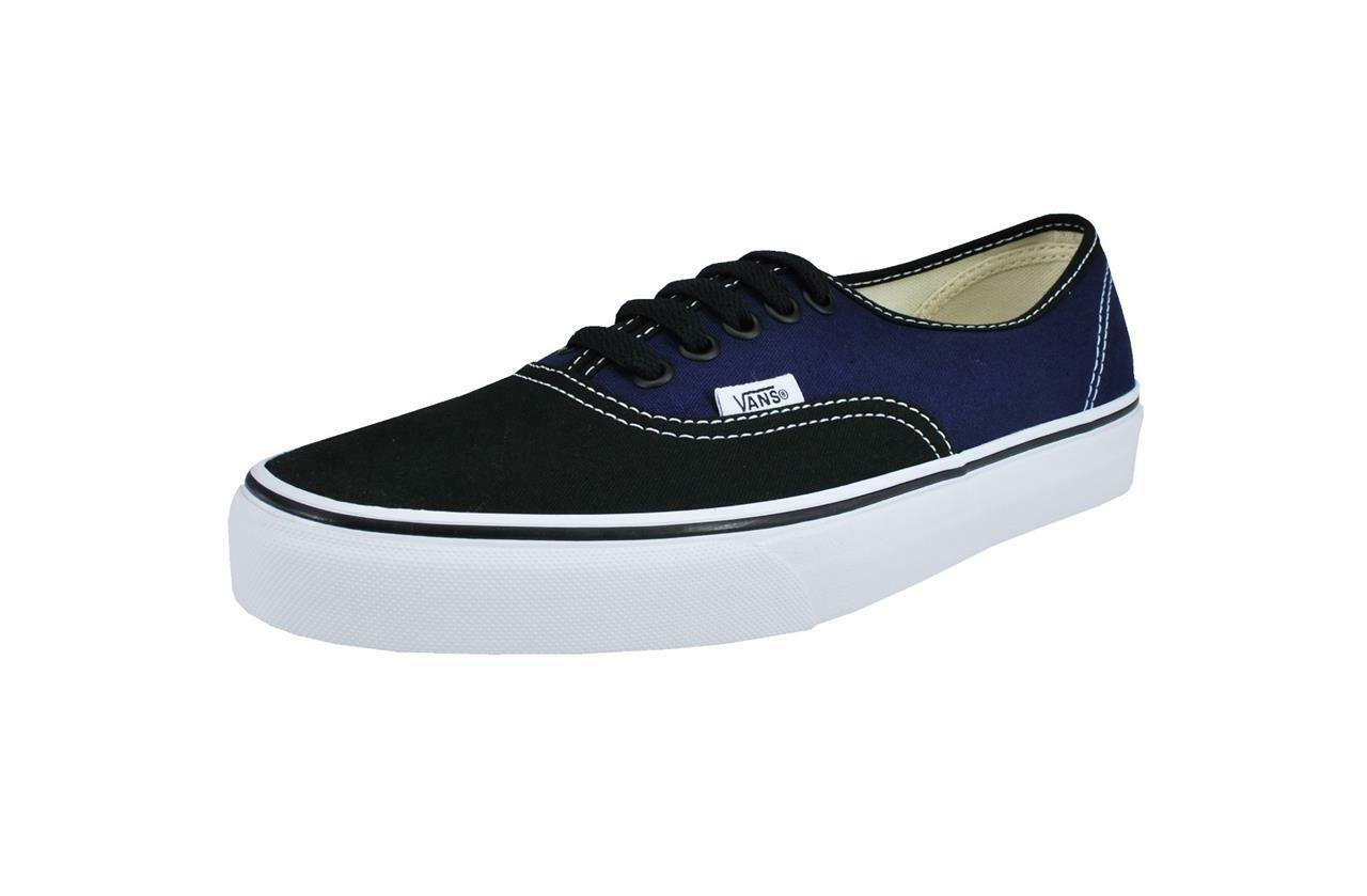 Vans Authentic Canvas Men Shoes 2 Tone Black Patriot Blue Sneakers VN-00AIGEH
