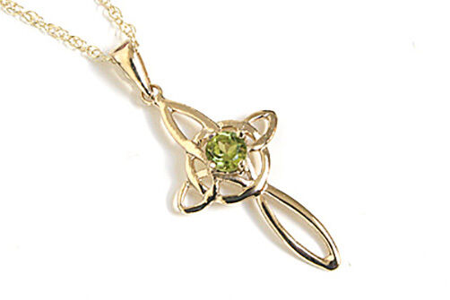 9ct gold Peridot Celtic Cross Pendant and 18  chain Made in UK Gift Boxed