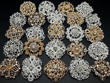 24pc/lot Mixed Gold&Silver Rhinestone Crystal Brooches Pins DIY Wedding Bouquet