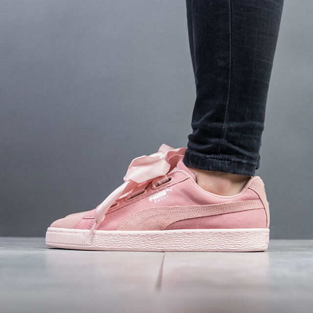 bab4e2edbe85d7 PUMA Suede Heart Pebble Wns Peach Beige Pink Bow Women Shoes ...