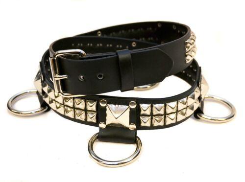 Studded D Ring 2 Row Bondage Belt Leather Punk Goth Metal Rock Garage Metal Uk