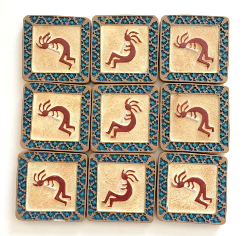 "Southwestern Kokopelli Charm Flat Back for Glue on 1.25x1.25/"" DIY Craft 9 pcs"