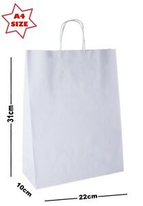 Details about 10 x White Paper Party Gift Bags ~ Boutique Shop Loot Carrier Bag SIZE A4