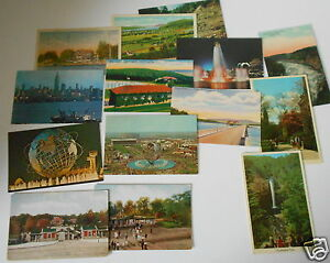 LOT-OF-14-NY-NEW-YORK-VINTAGE-POSTCARDS-WORLD-039-S-FAIR-COOPERSTOWN-ETC