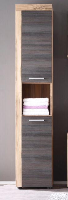 Bad Hochschrank Badschrank in Nussbaum Satin Touchwood Badezimmer Schrank Cancun