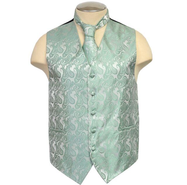New Brand Q polyester men's Paisley vest tuxedo waistcoat_neck tie MINT GREEN