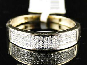 Womens-10K-Yellow-Gold-Round-Cut-Pave-Diamond-Wedding-Band-Ring-1-4-Ct