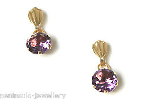 9ct-Gold-Amethyst-Round-Drop-Earrings-Gift-Boxed-Made-in-UK-Christmas-Gift