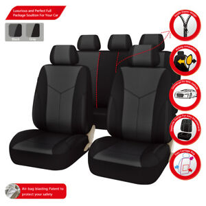 Universal-Car-Seat-Covers-Gray-Black-Airbag-Compatible-Bird-mesh-For-Car-TRUCK