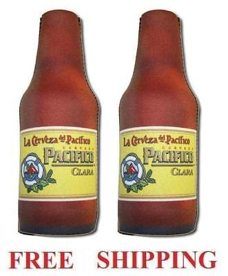 2 Pacifico Clara Beer Cerveza Authentic Bottle Koozie Cooler New Tiki Bar Party