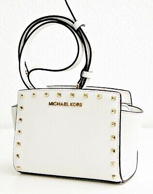 Michael Kors Bag Shoulder Bag Selma Studded Small Messenger White Gold New | eBay