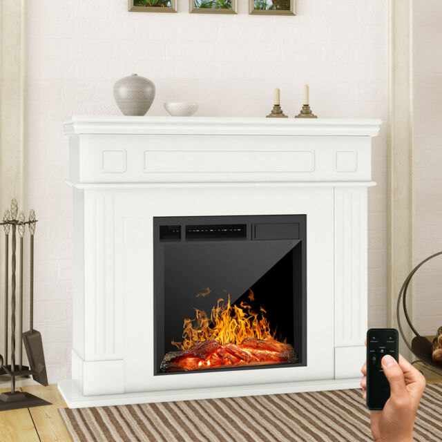 Electric Fireplace Heater w/ Wood Mantel Cabinet Remote Control LED Logs White
