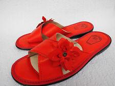 Pantolette - Hausschuhe  Gr.40,5 Echt LEDER *Komfortweite* Rot  (PL.17-6-5-41)