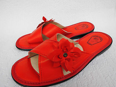 Pantolette - Hausschuhe Gr.38,5 Echt LEDER *Komfortweite* Rot (PL.17-6-5-41)