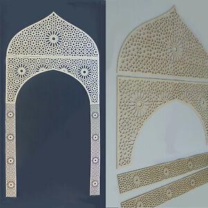 Dekorpaneele-Tor-mit-Ornament-Marokko-in-3mm-Sperrholz-Wanddeko-Holzschnitt