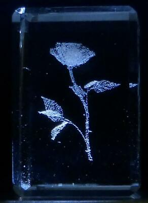"""3D Laser Etched Crystal Glass Space Shuttle 1 ½""""x1 ¼"""" Blue Gift Box Made USA New"""