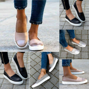 Women-039-s-Leather-Loafers-Round-Toe-Casual-Flats-Slip-On-Sneakers-Beach-Shoes-Size