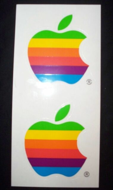 Vintage apple mac computer rainbow logo decal sticker free shipping