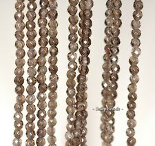 """3MM SMOKY QUARTZ GEMSTONE GRADE A BROWN FACETED ROUND 3MM LOOSE BEADS 16"""""""