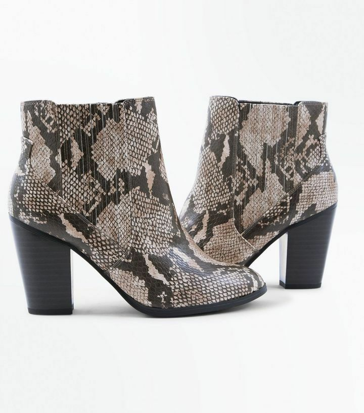 New Look Brand New Snakeskin Wide Fit Braun Faux Snakeskin New Heeled Stiefel Größe UK 6 0c623d