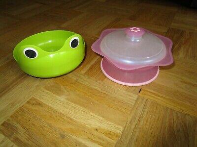 Clever Set 2 Baby Kleinkind Schalen Plastik Grün Frosch + Rosa Ergonomisch 100% Original