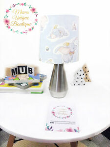 Details About Dumbo Light Blue Shade Lamp Children Nursery Table Night Touch