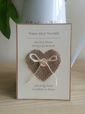 10 X Fatti A Mano Juta Cuore Salva La Data Card Wedding Stationery- Irrestringibile