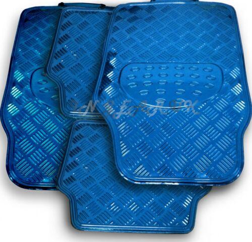 4pc Blue Alloy Heavy Duty Checker Plate Car Floor Mats Reflective Look Set Van