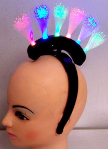 2 NEW LIGHT UP FIBER OPTIC MOHAWK PRINCESS headband lightup hat flashing light