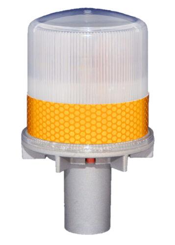 S4LC  AMBER YELLOW w// C CLAMP Solar LED Light Barricade Flasher Traffic Marine