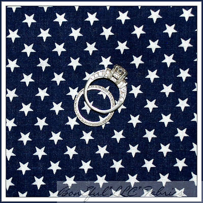 BonEful Fabric FQ Cotton Quilt American Flag Star Stripe Navy Patriotic Country