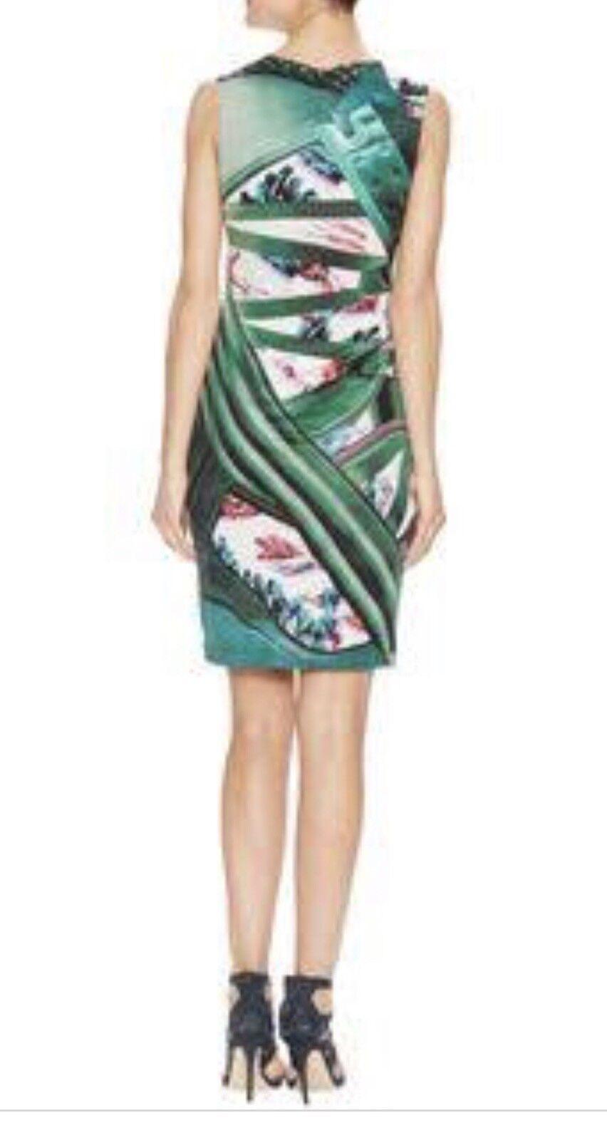 Mary Katrantzou Women's Green Multicoloured Printed Silk Jersey Dress Sz XS