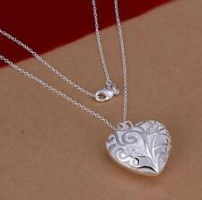 Plated Filled New Jewery 1 Pcs Hollow Charm Necklace Silver Chain Heart Pendant