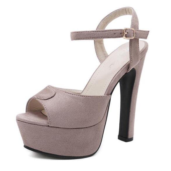 Sandali  tacco plateau 14 cm gris pelle sintetica eleganti 9282