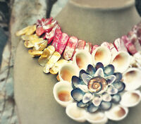 Mother Of Pearl Pink Yellow Necklace Huge Real Art Shell Flower Cream Pendant