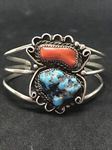 VINTAGE-LARGE-NAVAJO-STERLING-SILVER-OLD-PAWN-FRED-HARVEY-ERA-TURQUOISE-BRACELET