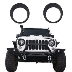 2x Matte Black Headlight Trim Cover Ring Bezels Jeep Wrangler Jk 07