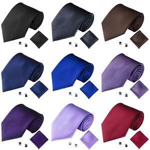 PT-Lk-Eg-Uomo-Tinta-Unita-Righe-Jacquard-Business-Cravatta-Fazzoletto-Set