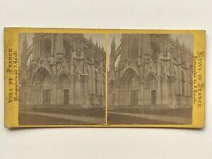 Rouen-Portail-dellaChiesa-di-Bonsecours-Fotografia-Stereo-Vintage-Albumina