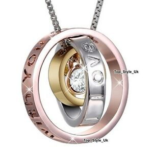 Triple-Rings-Rose-Gold-Yellow-Gold-amp-Silver-Necklace-Mum-Gifts-for-Her-Mother-S1